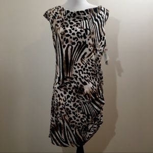 NWT French Connection Animal Print Shirt Dress L